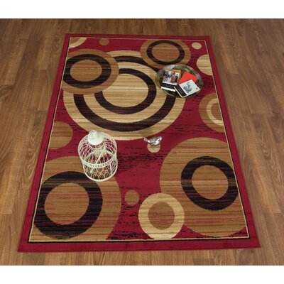 Buchenfeld Geometric Maroon/Beige Area Rug Rug Size: Rectangle 5 x 7