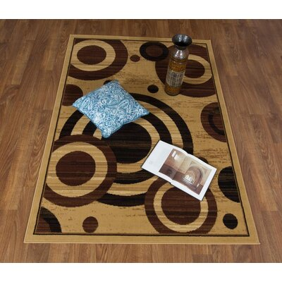 Buchenfeld Geometric Beige/Black Area Rug Rug Size: Rectangle 5 x 7