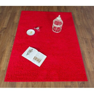 Washington Mews Shag Solid Red Area Rug
