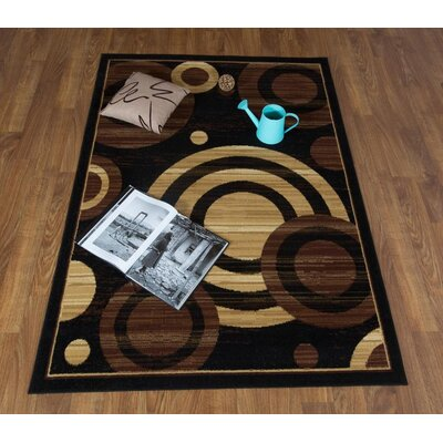 Buchenfeld Geometric Black/Beige Area Rug Rug Size: Rectangle 5 x 7