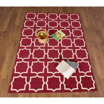 Haubstadt Red/Beige Area Rug Rug Size: Rectangle 5 x 7
