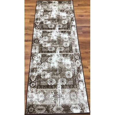 Senaida Brown/Cream Area Rug Rug Size: Runner 27 x 76