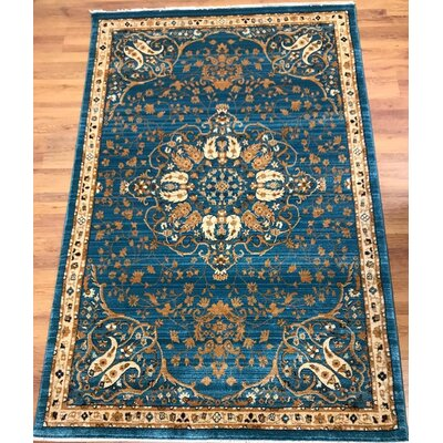 Seng Blue/Ivory Area Rug Rug Size: Rectangle 5 x 8