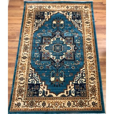 Ridgeway Blue/Ivory Area Rug Rug Size: Rectangle 41 x 6