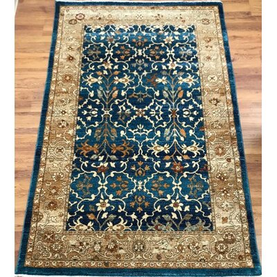 Dundermot Blue/Ivory Area Rug Rug Size: Rectangle 5 x 8