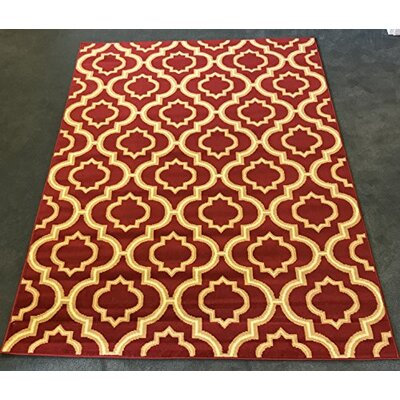 Serita Trellis Maroon/Cream Area Rug Rug Size: Rectangle 5 x 7