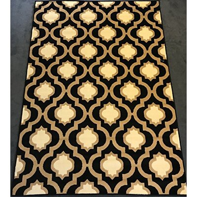 Serita Trellis Black/Cream Area Rug Rug Size: Rectangle 5 x 7