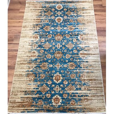 Serafina Oriental Gold/Blue Area Rug Rug Size: Rectangle 41 x 6