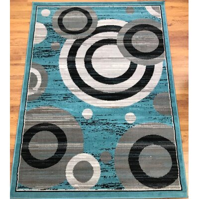 Buchenfeld Geometric Blue/Gray Area Rug Rug Size: Rectangle 5 x 7