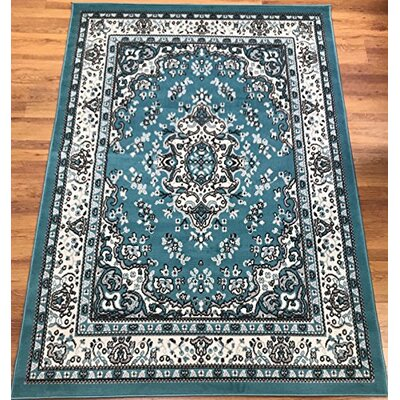 Dunlin Oriental Blue/Cream Area Rug Rug Size: Rectangle 8 x 10