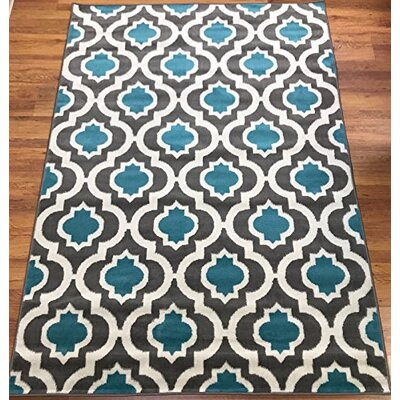 Serita Trellis Blue/Cream Area Rug Rug Size: Rectangle 8 x 10