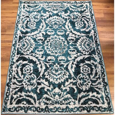 Dunlin Floral Blue/Cream Area Rug Rug Size: Rectangle 5 x 7