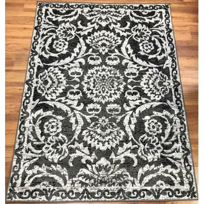 Dunlin Floral Gray/Black Area Rug Rug Size: Rectangle 5 x 7