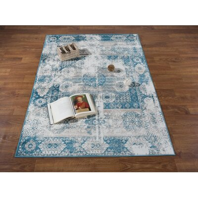 Senaida Blue/Cream Area Rug Rug Size: Rectangle 710 x 10