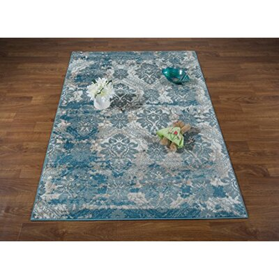 Brinkley Blue/Cream Area Rug Rug Size: Rectangle 710 x 109