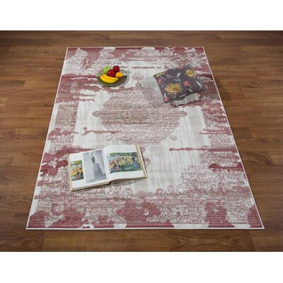 Senaida Cream/Pink Area Rug Rug Size: Rectangle 53 x 7