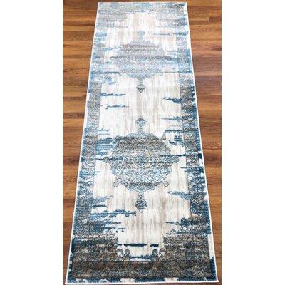 Senaida Cream/Blue Area Rug Rug Size: Runner 27 x 76