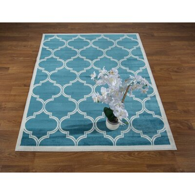 Hamlet Trellis Dark Blue Area Rug Rug Size: Rectangle 53 x 7