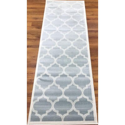 Hamlet Trellis Light Blue/Cream Area Rug Rug Size: Runner 27 x 76