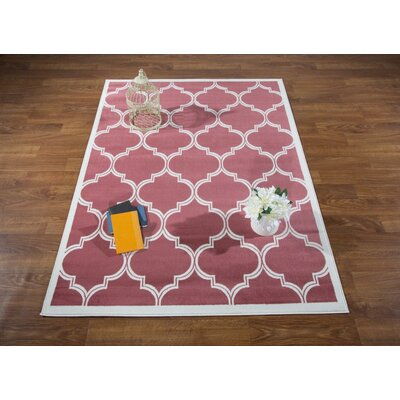 Hamlet Trellis Pink/Cream Area Rug Rug Size: Rectangle 53 x 7