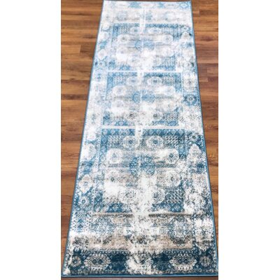 Senaida Blue/Cream Area Rug Rug Size: Runner 27 x 76