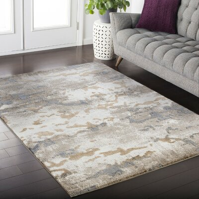 Crider Beige/Gray Area Rug Rug Size: Rectangle 39 x 52