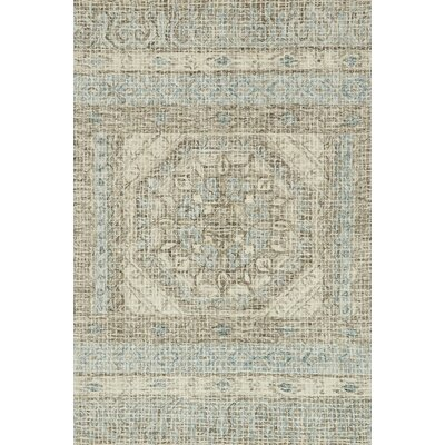 Zeinab Hand Hooked Wool Stone/Blue Area Rug Rug Size: Rectangle 79 x 99