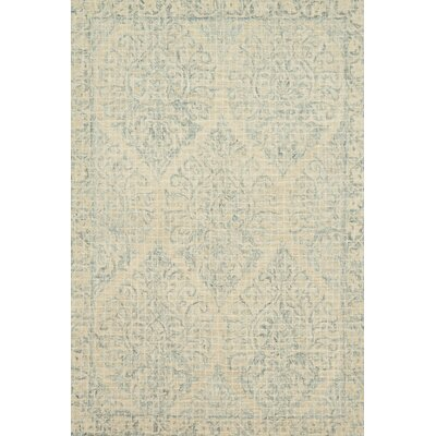 Zeinab Hand Hooked Wool Beige/Sky Area Rug Rug Size: Rectangle 79 x 99