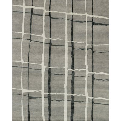 Pickrell Hand-Knotted Gray Area Rug Rug Size: Rectangle 86 x 116