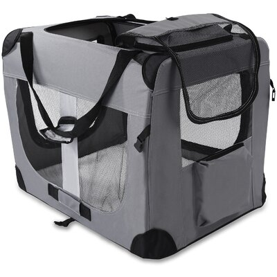 Soft-Sided Pet Carrier Size: 28 H x 27 W x 40 D, Color: Gray