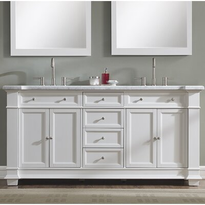 Riccardo 72 Double Bathroom Vanity Set Base Finish: White