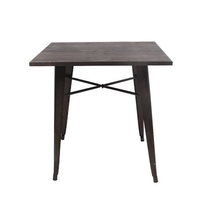 Arnt Tolix Style Dining Table Base Color: Rustic, Top Color: Dark wood