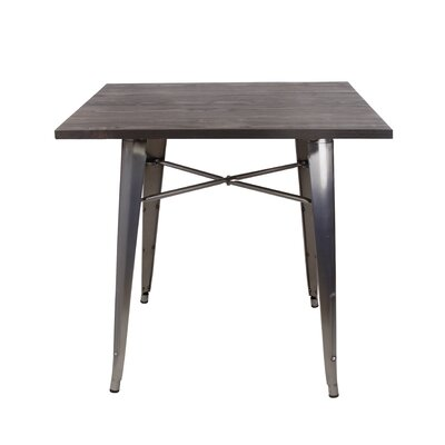 Arnt Tolix Style Dining Table Base Color: Gunmetal, Top Color: Dark wood
