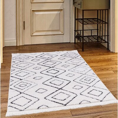 Crivello White/Charcoal Area Rug Rug Size: Rectangle 39 x 52