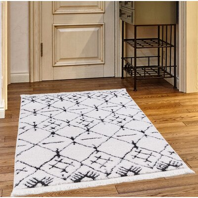 Byrd White/Charcoal Area Rug Rug Size: Rectangle 27 x 47