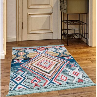 Rubie Light Blue/Brown Area Rug Rug Size: Rectangle 27 x 47