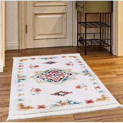 Rubie White/Blue Area Rug Rug Size: Rectangle 52 x 72