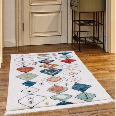 Rubie White Area Rug Rug Size: Rectangle 78 x 102
