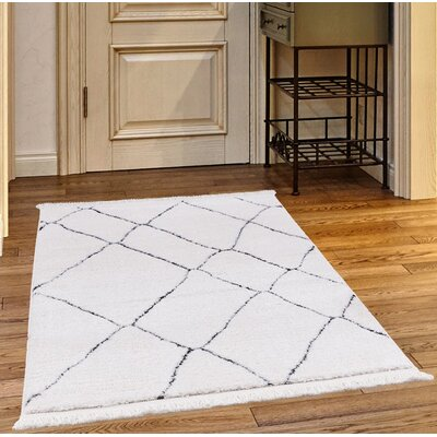 Crivello White/Charcoal Area Rug Rug Size: Rectangle 23 x 72