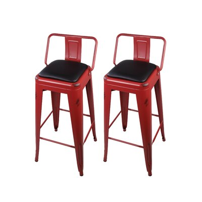 Alric 30 Bar Stool Color: Red