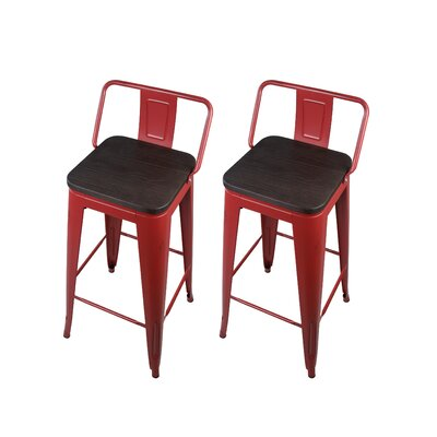 Alric 30 Bar Stool Frame Color: Antique Red, Seat Color: Black