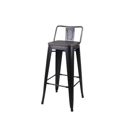 Alric 30 Bar Stool Frame Color: Antique Black, Seat Color: Dark Wooden