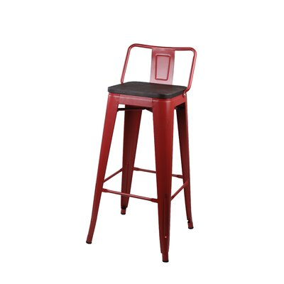 Alric 30 Bar Stool Frame Color: Antique Red, Seat Color: Dark Wooden