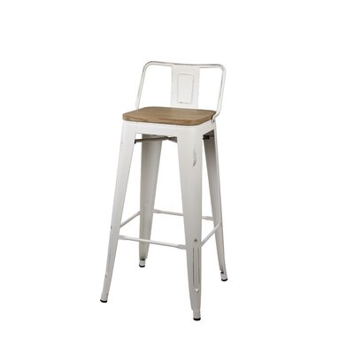 Alric 30 Bar Stool Frame Color: Antique White, Seat Color: Gray