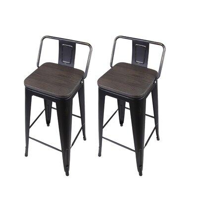 Alric 30 Bar Stool Frame Color: Antique Black, Seat Color: Black