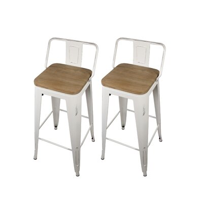 Alric 30 Bar Stool Frame Color: Antique White, Seat Color: Nature