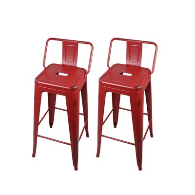 Capucine 30 Bar Stool Color: Red