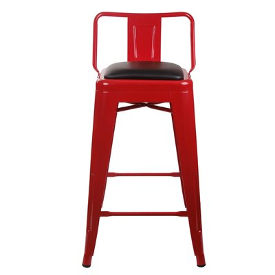 Alric 24 Bar Stool Color: Red