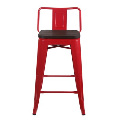 Alric 24 Bar Stool Frame Color: Red