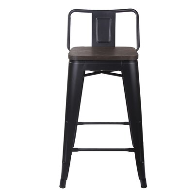 Alric 24 Bar Stool Frame Color: Dark Wood